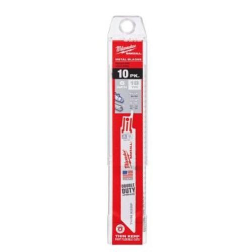 Milwaukee 6 in. 18 Teeth per in. Thin Kerf Metal Reciprocating Saw Blades (10-Pack)