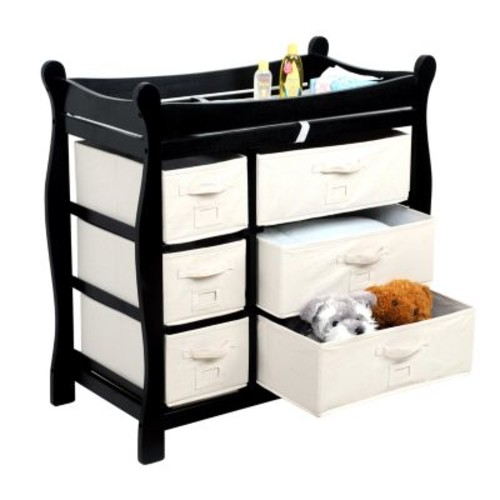 Badger Basket Baby Changing Table with Six Baskets, Black [Black]