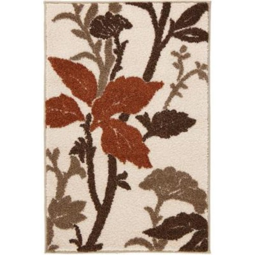 Home Decorators Collection Blooming Flowers Ivory/Rust 2 ft. x 3 ft. Scatter Rug