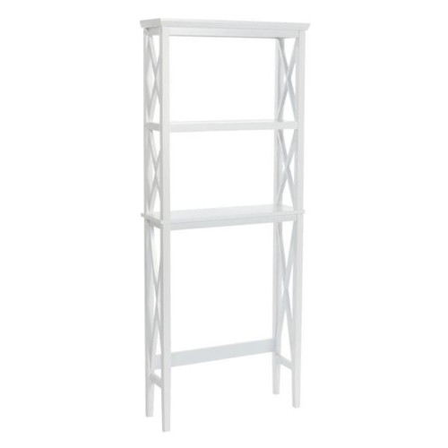 RiverRidge Home X-Frame 25-49/50 in. W x 63-39/50 in. H x 8-23/50 Over the Toilet Storage Space Saver in White