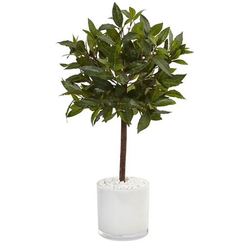 Nearly Natural Indoor Sweet Bay Artificial Tree in White Glossy Cylinder