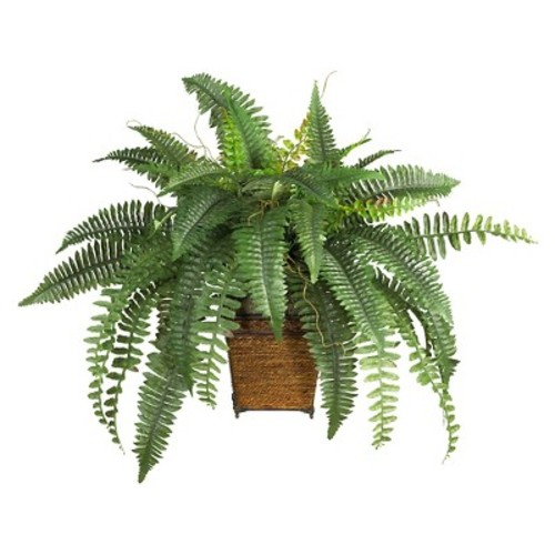 Nearly Natural Boston Fern with Wicker Basket Silk Plant Green