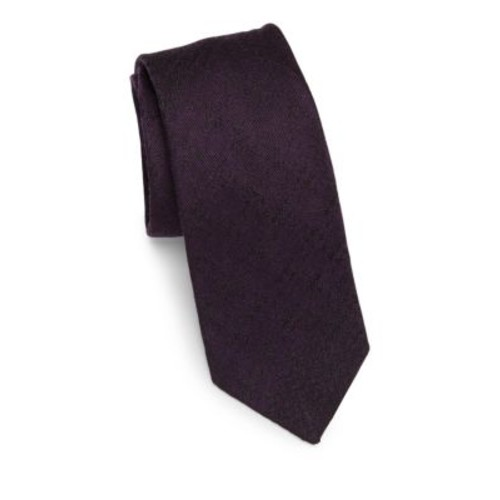 BURBERRY Textured Solid Silk Tie