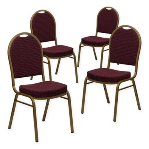 Flash Furniture Hercules 4-Piece Banquet Chair in Burgundy/G
