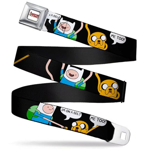 Adventure Time Logo White Full Color Finn & Jake I'M On A Belt Me Too Seatbelt Belt [option : XS]