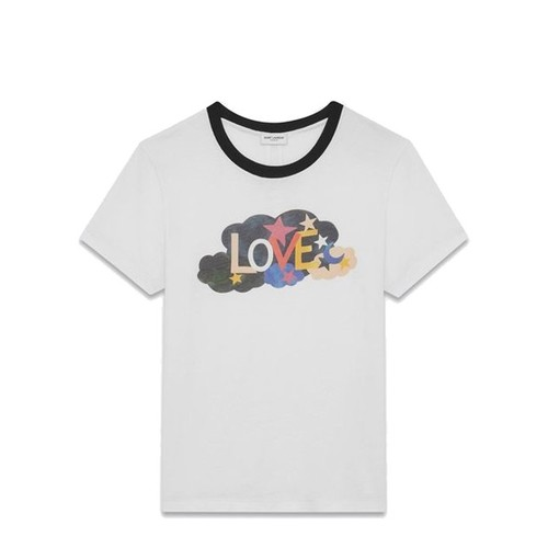"SAINT LAURENT Short Sleeve ""Love"" Ringer T-Shirt"