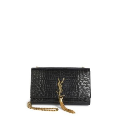SAINT LAURENT Kate Monogram Croc-Embossed Leather Tassel Chain Shoulder Bag
