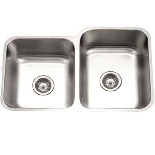 HOUZER Eston Series Undermount Stainless Steel 31 in. 40/60 Double Bowl Kitchen Sink in Satin