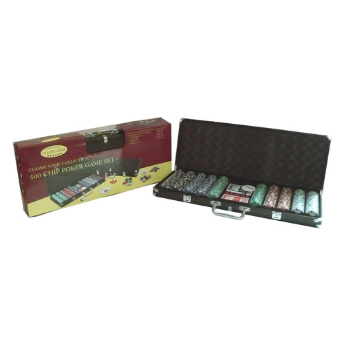 John N Hansen Co 500 Chip Poker Game Set in Black Aluminum Case