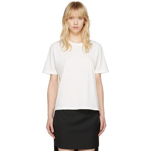 SAINT LAURENT White Triple Heart T-Shirt