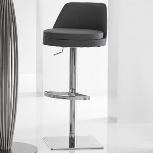Bellini Modern Living Dante Adjustable Height Swivel Bar Stool; Black