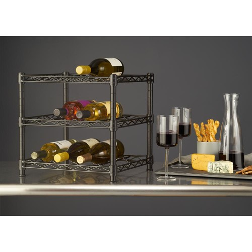 HDX 12-Bottle Black Floor Wine Rack