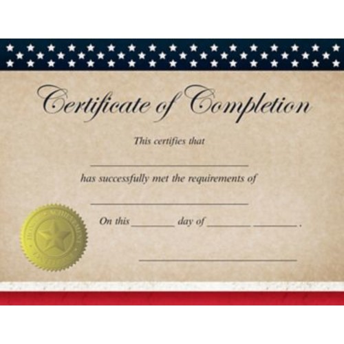 Great Papers! Patriotic Completion Certificate, 8.5