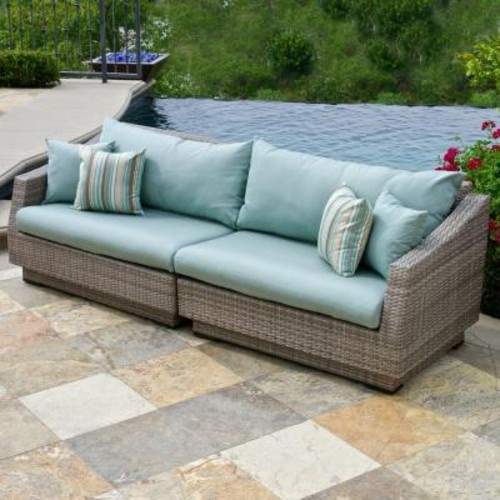 RST Brands Cannes 2-Piece Patio Sofa with Bliss Blue Cushions