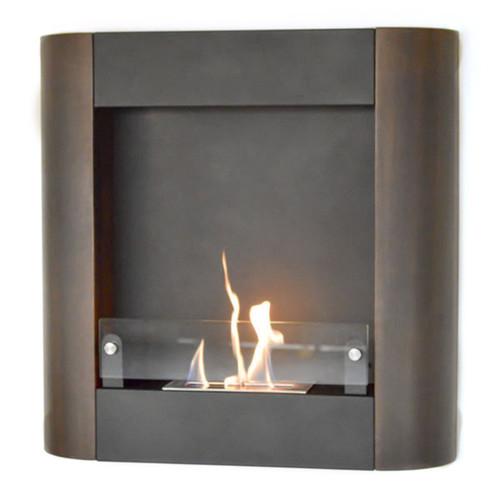 Nu-Flame Focolare Muro Noce Dark Walnut Metal Wall-mount Fireplace