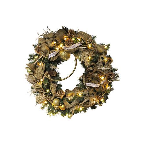 Antique Lyre Harp Evergreen Wreath