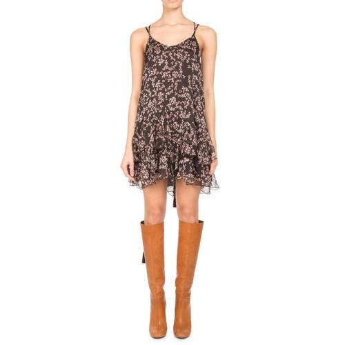 Floral-Print Chiffon Ruffle-Hem Minidress, Brown