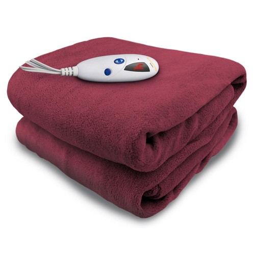 Biddeford Blankets 4460 Series, Claret in Color, 1-Size 50 in. x 62 in. Micro Plush Heated Throw