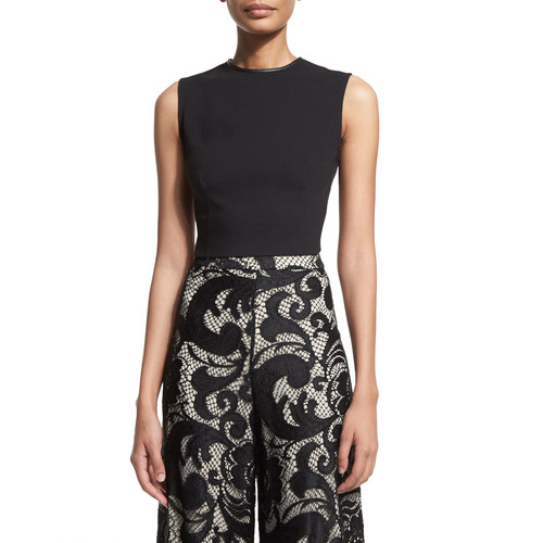 ALICE + OLIVIA Flynn Sleeveless Ponte Back-Zip Top & Floral-Lace Super-Flare Pants