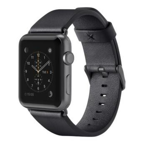 Classic Leather Band for Apple Watch (42mm, Black)