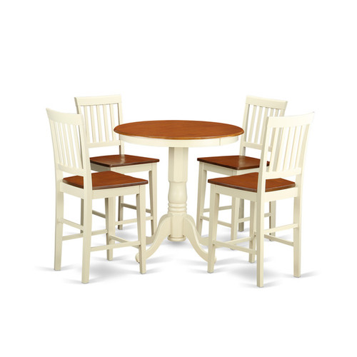 Cream and Off-white Solid Wood Five-piece Pub Table Kitchen Dinette Set [option : Microfiber]