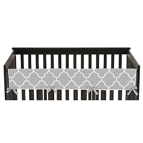 Sweet Jojo Designs Trellis Long Crib Rail Guard Cover in Grey/White