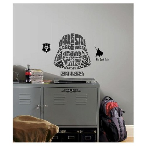 RoomMates 19 in. Multi Color Star Wars Typographic Darth Vadar Peel and Stick Giant Wall Decals