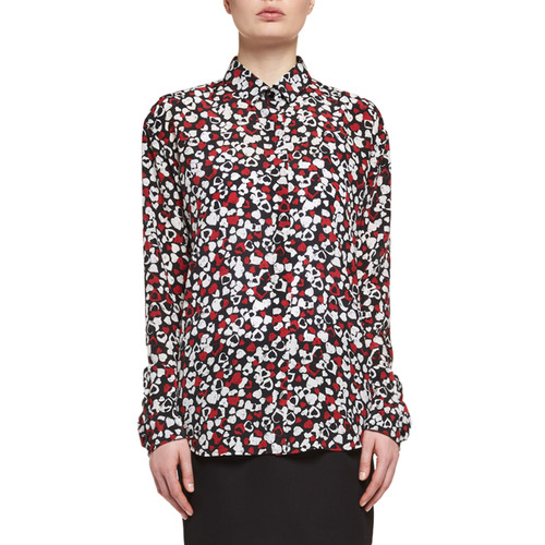 SAINT LAURENT Heart-Print Silk Blouse, Multi