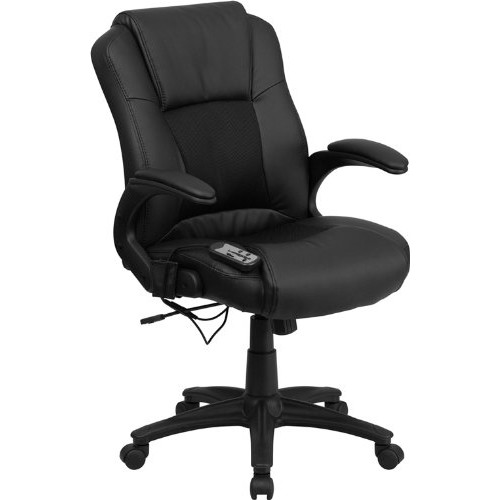 Flash Furniture Massaging Black Leather Executive Swivel Chair with Arms [Black]