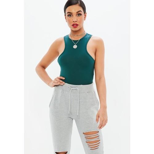 Green Racer Sleeveless Bodysuit