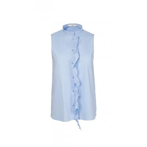TIBI Oxford Sleeveless Ruffle Shirt