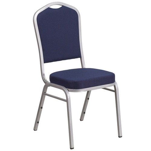 HERCULES Series Crown Back Stacking Banquet Chair with Fabric and 2.5-inch Thick Seat - Silver Frame
