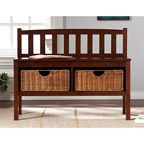 Southern Enterprises Bench with Storage Baskets in Espresso