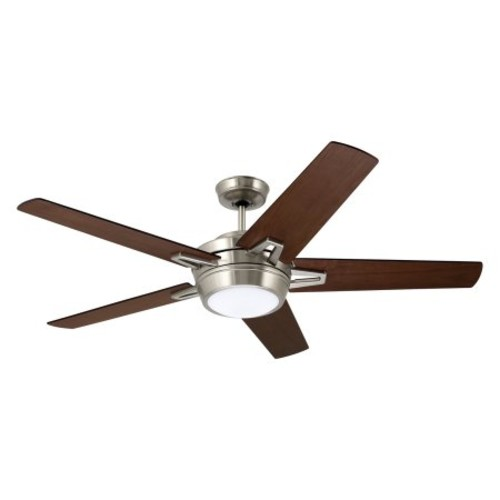 Southtowne Ceiling Fan [Fan Body and Blade Finish : Brushed Steel with Dark Mahogany and Walnut]