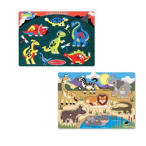 Melissa & Doug Safari & Dinosaurs Peg Puzzle Set