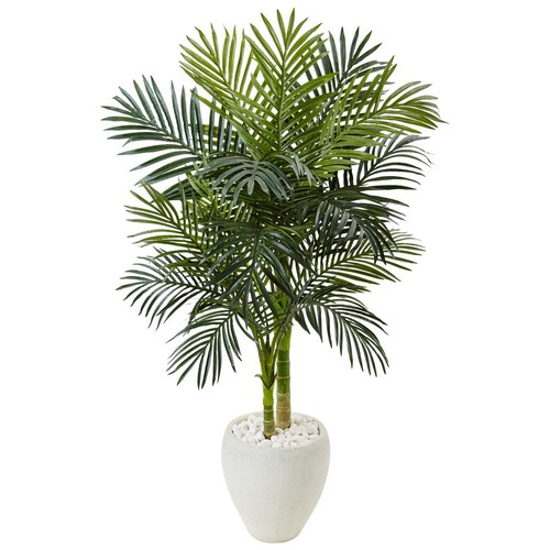 Nearly Natural Indoor Golden Cane Palm Artificial Tree in White Oval Planter