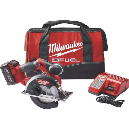 Milwaukee M18 FUEL Cordless Metal Cutting Circular Saw Kit  5 3/8in.5 7/8in. Dia. Blade, With 2 Batteries, Model# 2782-22