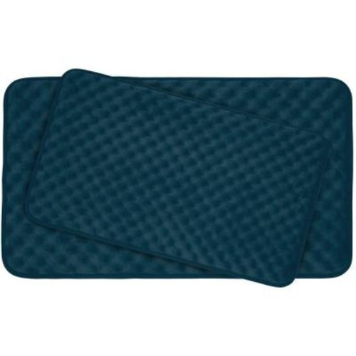 BounceComfort Massage Dusty Blue Memory Foam 2-Piece Bath Mat Set