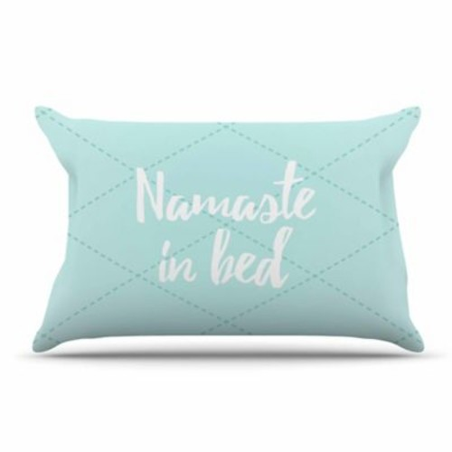 East Urban Home 'Namaste In Bed' Pillow Case; Teal