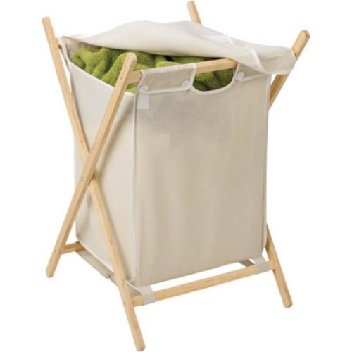 Honey-Can-Do HMP-01365 Folding Frame Clothes Hamper, Wood/Natural