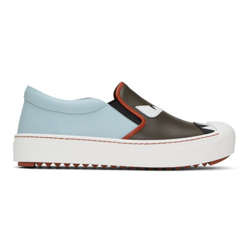 FENDI Grey & Blue 'Bag Bugs' Slip-On Sneakers