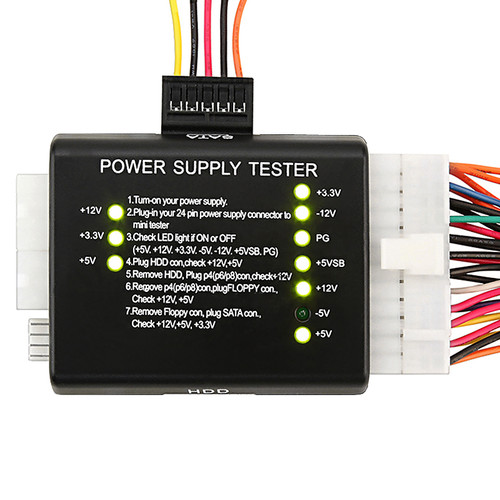 INSTEN Black 20/ 24 Power Supply Tester for ATX/ SATA/ HDD