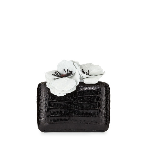 NANCY GONZALEZ Poppy-Topped Crocodile Box Clutch Bag, Black/White