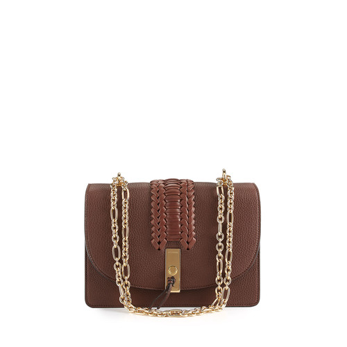 ALTUZARRA Ghianda Braided Leather Chain Shoulder Bag, Brown