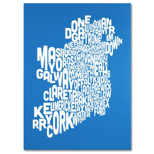 Trademark Global Michael Tompsett 'Ireland Text Map - Summer' Canvas Art [Overall Dimensions : 18x24]