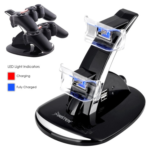 Insten Dual USB Charging Charger Dock Station Stand for PS3 Sony Playstation 3 Controller LED Cradle (with extra 2 USB Ports)