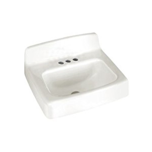 American Standard 4867.004.020 Regalyn 19-by-17-Inch Enameled Cast Iron Wall Hung Sink with 4-Inch Faucet Spacing, White