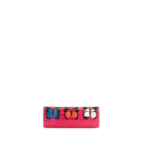 NANCY GONZALEZ Butterfly Crocodile Razor Clutch Bag, Pink/Multi