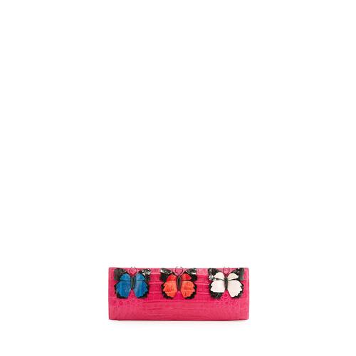 NANCY GONZALEZ Butterfly Crocodile Razor Clutch Bag, Pink/Multi