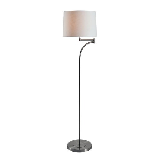 Kenroy Home Seven 59 in. Brushed Steel Floor Lamp with Cream Tapered Shade